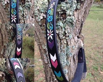 Custom Floral Chevron Narrow Belt