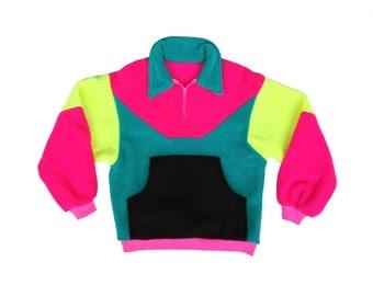 Super Soft 80s Unbranded Neon Colorblock Fleece Pullover - M