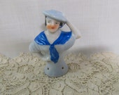 Vintage Hall Doll Pin Cushion Doll Blue Dress and Hat Porcelain Hand Painted Arms Away