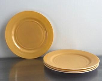 "Yellow Dinner Plates by Hazel Atlas, 9"", set of 4"