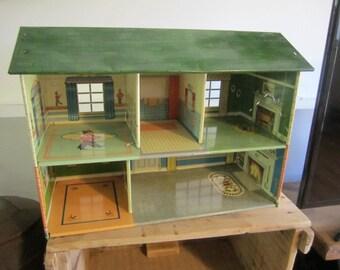 Vintage Tin Dollhouse. Two storey dollhouse. Tin Dollhouse.