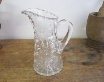 Etched Glass Pitcher. Daisy Pattern Glass Pitcher. Etched Clear Glass Jug. Glass Water Jug.
