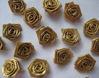 Metallic Gold Flowers Rosettes Appliques 5/8 inch for Wedding, Sewing, Crafting, Scrapbooking, Embellishment, Doll Clothing, 1.5 cm, 30 pcs