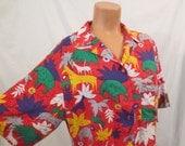 TIKI SAFARI novelty print Hawaiian shirt - bright colors - tropical animal kitsch - mens L