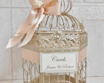 Champagne Gold Wedding Birdcage Card Holder