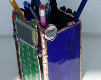 Stained Glass Organizer, Pencil Holder, Stained Glass Pen Holder, Office Decor, Desk Accessory, Geek Pen Holder, Pencil Holder