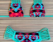 Southwestern Navajo Turquoise Neon Strappy Scrunch Butt Bikini