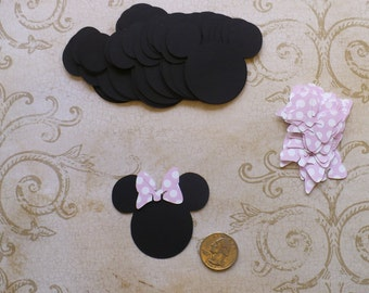 25 Minnie Mouse Head Shapes Light Pink Polka Dot Bow Die Cut pieces for crafts Cupcake Picks DIY Kids Crafts Birthday Party etc.
