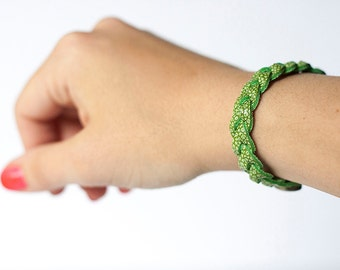 Braided Leather Bracelet / Green Apple