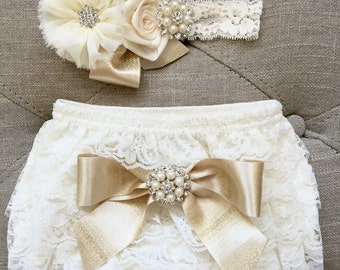 Ivory and gold Lace Ruffled Baby Bloomers and headband set,Headband and Bloomers- Newborn Outfit