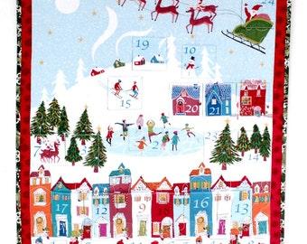 Advent Calendar, Christmas Wall Quilt, Wonderland Winter Village, Heirloom Quilt, Children's Activity Calendar, Quiltsy Handmade