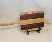 Walnut and Oak Handled Cheese Board Striped with Hardwoods