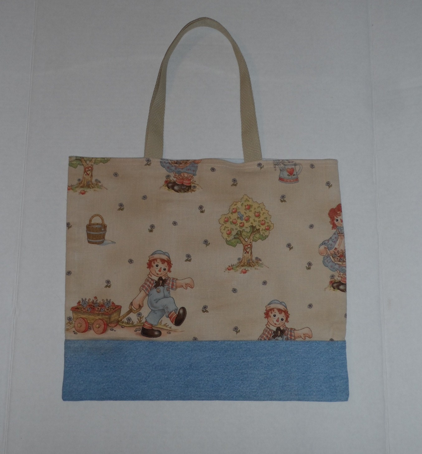 raggedy ann andy japanese fabric book ipad tote bag with