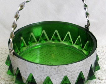 SALE! REDUCED Retro Glass Bowl, Rare Mid-Century Davidson's 'Crown' Chrome and Emerald Green Glass Fruit Bowl 1960s