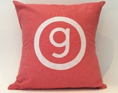"""18"""" X 18"""" Monogramed Pillow Cover in Felt and Cotton Twill 