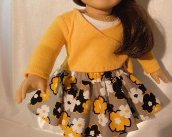 Doll Clothes 18 Skater Skirt White Tank Gold Shrug Wrap