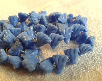 Vintage Glass Bead Necklace, Powder Blue, Humbug Shape, 30s, 40s.