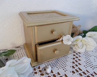 Gold Jewelry Box Shabby Chic Trinket Organizer Hollywood Regency French Country Romantic Cottage Bedroom Home Decor Birthday Gift for Her