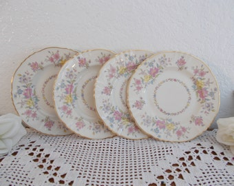 Vintage Briarcliff Pastel Flower Gold Rim Dinner Plate Set Romantic Shabby Chic Cottage Feminine Country Farmhouse Kitchen Home Decor Gift