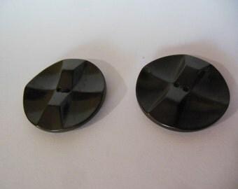 2 Vintage Large Dark Brown Bakelite Coat Buttons