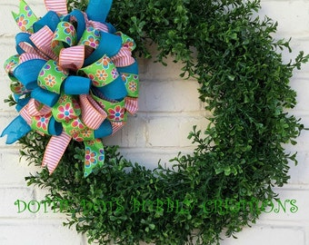 Spring/Summer Artificial Boxwood Wreath W Floral Striped Bow, Summer Wreath
