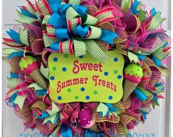Summer Jute Mesh Ice Cream Wreath
