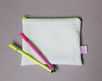 Graph paper zip pouch pencil case