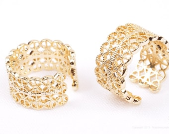 R010-G// Gold Plated Wide Band Ring (US 6)
