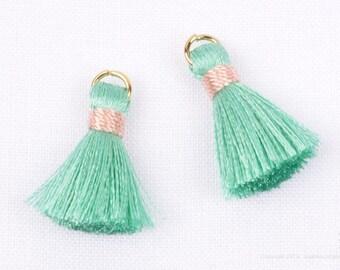 T002-RA-MT// Mint, Pink Rayon Tassel Pendant, 4pcs, 23mm