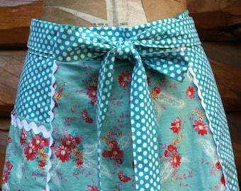 Tulip Half Apron, Vintage Style Half Apron, Teal Polka Dots, Vintage Floral, Teal, Coral, White