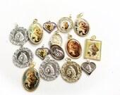 destash salvaged lot religious charms Saint Anthony saint medals pendants assorted  assemblage 15 pcs lot R104