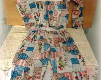 Vintage Holly Hobbie Childs Girls Pajamas Size 6X Tagged 1970s Kitsch