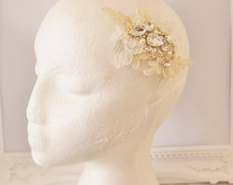Ivory and beige lace crystal bridal hair comb