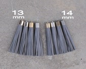 Gray Leather(cowhide) TASSEL  in 13 or 14mm Cap -4 colors Plated Cap- Pick cap size, cap color
