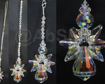 Swarovski Angel made with vintage AB Crystal Dewdrop Suncatcher (DS31)