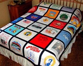 Custom-made TeeShirt Quilt made with 21-25 teeshirts