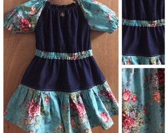 Denim and Cotton Boho Style Fall/Winter Dress, size 3t