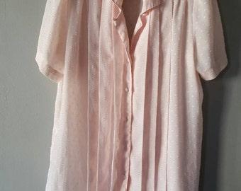 Vintage Blush Pink Button Down Ruffled Blouse, Size 8