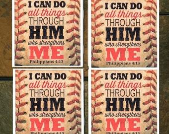 Baseball Philippians 4:13 Bible verse Coaster set