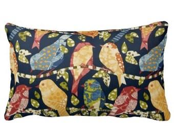 outdoor pillows, navy outdoor pillows, outdoor pillow cover, bird pillows, 12x16 lumbar cover, chair pillows, outside pillows, patio pillow
