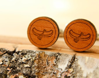 Canoe Cuff Links, Laser Cut Wood, Groom Groomsmen Gift, Nature Lover, Boating Canoeing, Sustainable Wood Cufflinks, Fathers Day Gift