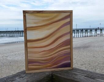 Seashell art, beach inspired coastal art, abstract landscape, seascape, reclaimed wood framed art, rustic boho chic, coastal interior design