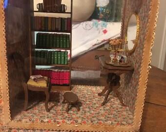 Vintage Handmade Shadow box diorama room