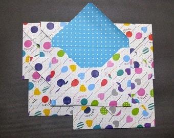 Card Envelope - Balloon -Handmade - 5 1/4 in x 4 in (13.5 cm x 10 cm) - Set of 6
