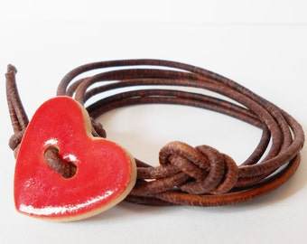 red heart bracelet, leather wrap bracelet, bohemian heart button bracelet, southwestern wrap, gift for her