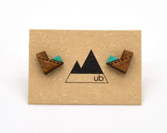 Colour Block Chevron with Dots- Wood Studs
