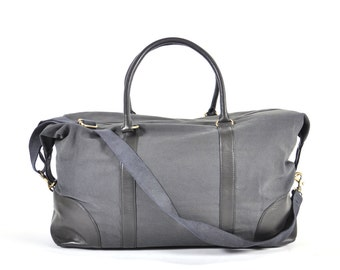Cotton Canvas and Leather Weekender Bag - Gray Blue Canvas with Black Leather Handles & Trim