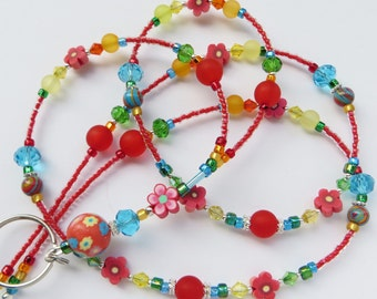 CHEERFUL SUMMER- Beaded ID Lanyard Badge Holder- Polymer Clay, Turkey Turquoise, Lucite Beads, and Sparkling Crystals- (Necklace Clasp)