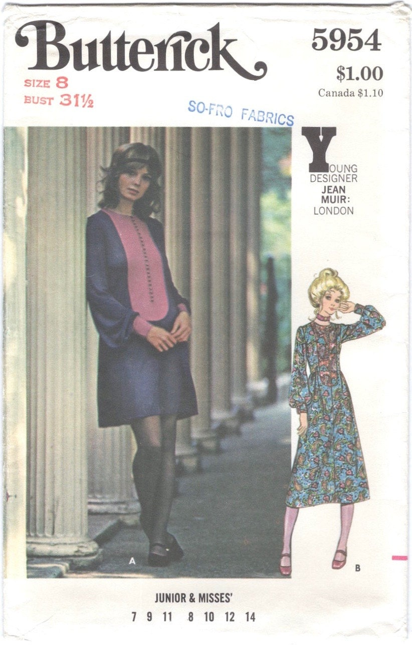 1970 Jean Muir dress pattern Butterick 5954