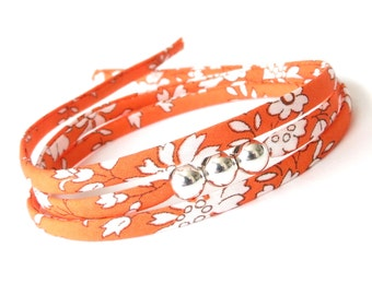 Burnt orange wrap bracelet with silver beads, minimalist bracelet for stacking, little thank you gift for friend, Liberty Capel fabric